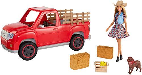 Barbie GFF52 - Spaß auf dem Bauernhof Farmer Truck mit Bäuerin Puppe, Puppen Spielzeug ab 3 Jahren