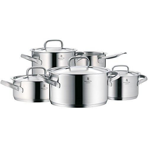 Price comparison product image WMF Pot Set 5-Piece Gourmet Plus Inside Scale Steam Vent Made in Germany Hollow Handles Metal Lid Cromargan® Stainless Steel Suitable for Induction Hobs Dishwasher-Safe