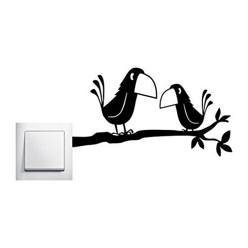 Zwei Krähen auf einem Ast Wandtattoo Rabe Vögel Aufkleber Wall Art , Ausführung Rechts -