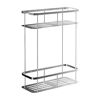 Ambrosya® | Exclusive shower basket made of stainless steel | Shelf Bath Bathroom Shower Tray Shower Corner Holder Bracket Basket Wall (Stainless Steel (Brushed), 2 floors)