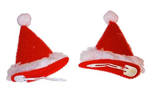Weihnachtsmütze mit Haarklammer rot 6,5 x 5 cm Kopfschmuck Weihnachten