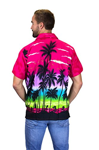 V.H.O. | Funky Hawaiihemd | Herren | Kurzarm | Front-Tasche | Hawaii-Print | Strand Palmen Meer | Pink Pink