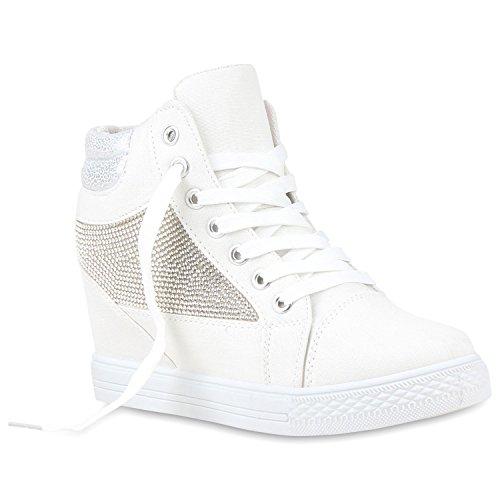 Modische Damen Sneakers Strass Sneaker-Wedges Keilabsatz Weiß