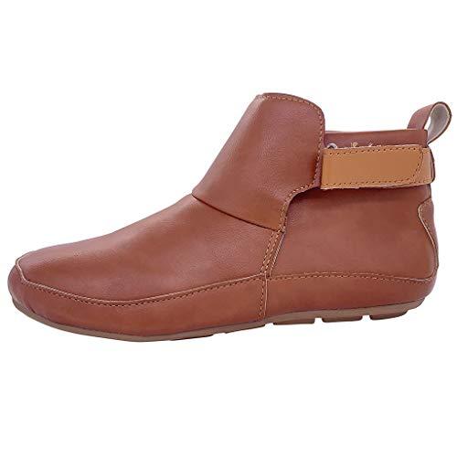 Xuthuly Mode Frauen Winter Klassische Vintage Leder Stiefeletten Damen Freizeit Einfarbig Im Freien wasserdichte Einzelne Schuhe