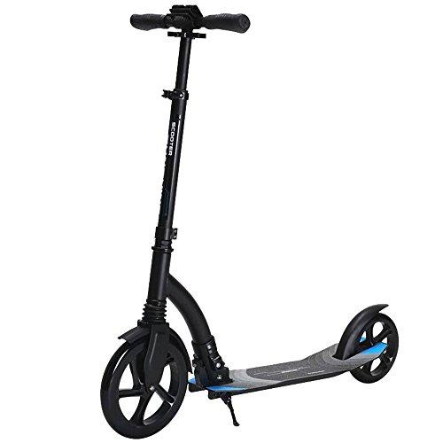 AM-fitness equipment Antiscivolo Due Ruote in Lega di Alluminio a Due Ruote Freno a Mano Pieghevole a Due Ruote City Scooter Scooter per Adulti Durevole (Colore : Nero)