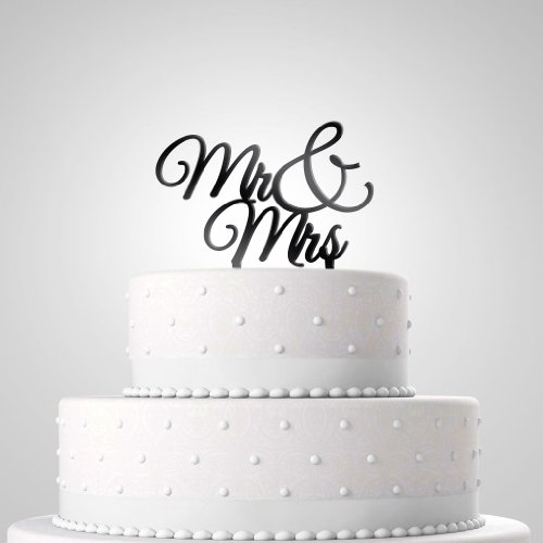 Tortendekoration zur Hochzeit - Tortenfigur 'Mr & Mrs' schwarz