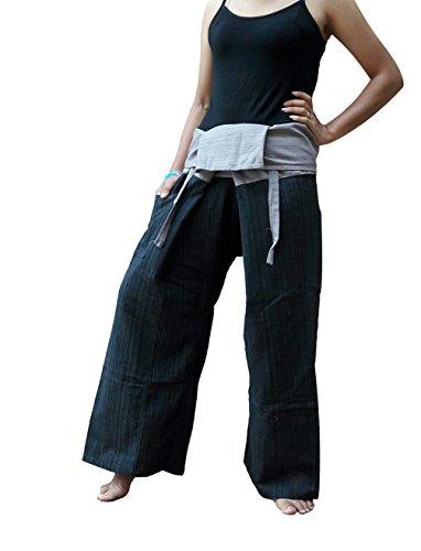 BTP-2Ton Thai Fisherman Hose Yoga Hosen gratis Größe One Size 100% gestreift Baumwolle/Mehr Farben Einheitsgröße Black Grey FM4 -