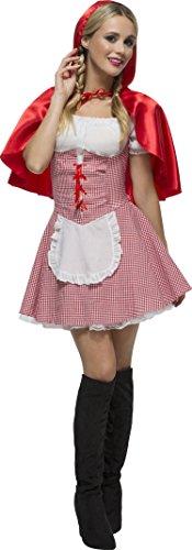 Smiffy's - Costume per travestimento da Cappuccetto Rosso sexy, Donna, incl. vestito e cappuccio, M