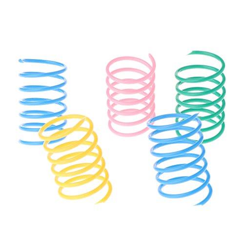 LANDUM 5teilig Cat Toys Colorful Spring Kunststoff Bounce Pet zufällige Farbe Breit Gauge Schwere Farbe zufällig 4,5x 2,5cm (4,5x 2,5cm) -