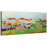 100% LABOR A MANO + certificado / 115x50 cm / Pueblo / El cuadro dibujado con pinturas acrílicas / cuadros sobre el lienzo con bastidor de madera / cuadro dibujado a mano / montaje cómodo sobre la pared / Arte contemporáneo