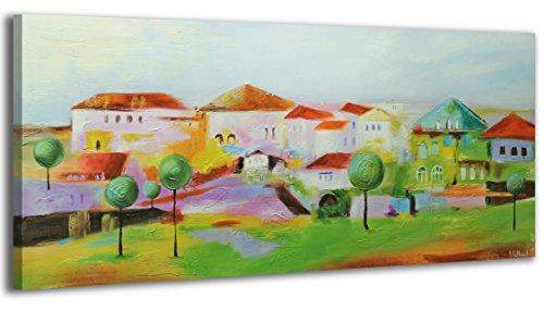100-LABOR-A-MANO-certificado-115×50-cm-Pueblo-El-cuadro-dibujado-con-pinturas-acrlicas-cuadros-sobre-el-lienzo-con-bastidor-de-madera-cuadro-dibujado-a-mano-montaje-cmodo-sobre-la-pared-Arte-contempor