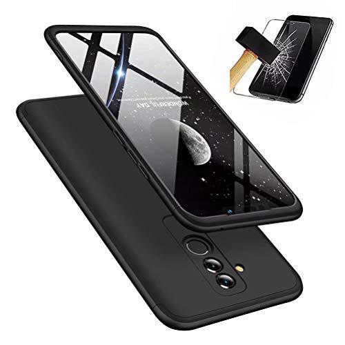 Huawei Mate 20 lite hülle, DYGG 360 Grad Schutz Schutzhülle Ultra dünn Soft PC Hartgummi handyhülle Case Cover + Bildschirmschutzfolie - schwarz