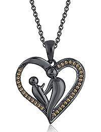 Silvernshine 18K Black Gold Over Citrin Sim Diamond Accent Mother & Child Heart Pendant Necklace