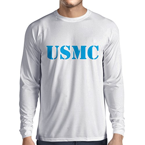 lepni.me Langarm Herren t Shirts USMC Emblem, Marine Corps, Marines Logo, US Navy Armed Forces (XX-Large Weiß Blau) (Blauen Army Air T-shirt Corp)