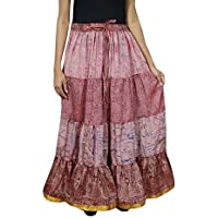 Womens Boho Gypsy Long Skirt Pink Silk Sari Flare Belly Dance Tiered Skirts L