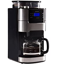 Ultratec Cafetière / machine à café avec mécanisme de broyage et fonction minuterie, cafetière automatique avec carafe en verre et filtre permanent, acier inoxydable/noir