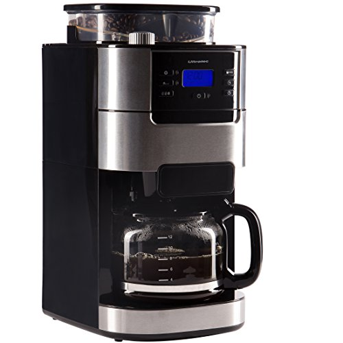 Ultratec Kaffeemaschine/Kaffee-Vollautomat mit Mahlwerk und Timerfunktion, Edelstahl/Schwarz
