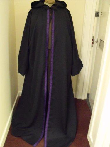 165.10 cm Länge für Erwachsene, Kapuze, Wolle SUIT Damen Kleid IN Blau und Violett, keltisches Design Knoten und Kanten