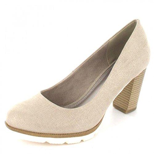 Marco Tozzi Ladies 22440 Platform Shoes Dune Metallic