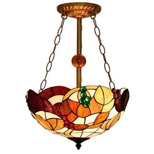 Chandelier Retro Country Traube Anti-Kronleuchter Buntglas 40Cm16 Zoll Licht -