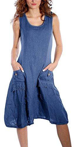 Flying Rabbit Women Beach Dresses Linen Sleeveless with Beautiful Details Summer Dress