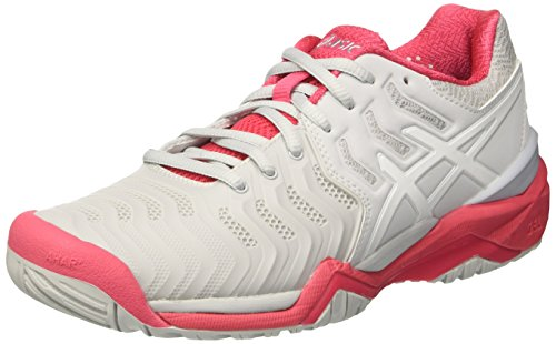 Asics Gel-Resolution 7, Scarpe da Tennis Donna Grigio (Glacier Grey/white/rouge Red)