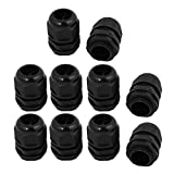 SLB Works 10pcs M25 x 1.5mm Nylon 3 Hole Cable Gland Connector Joint Black 8mm-6.2mm Range