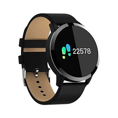Lg-jz Smart Watch Smart Bracelet Movement Steps Full Smart Outdoor Sports Bracelet Round Screen Android System Bluetooth Call Sports Bracelet (color : Black)