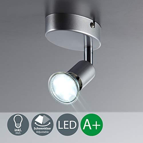 LED Deckenleuchte LED Deckenlampe LED Deckenstrahler LED Lampe LED Leuchte Deckenleuchte Spot LED Deckenspot inklusive 3W GU10 warmweiss schwenkbar Metall titanfarbig Wohnzimmer 1 flammig Wand