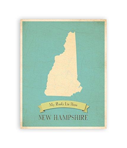 New Hampshire State Map (Children Inspire Design Meine Wurzeln Hampshire Persönlichen Wall Karte 11x 14, Kid 's New Hampshire Karte Wand Art, Kinder-New Hampshire Vintage State Map, NH Wand Kunstdruck, Kinderzimmer Decor)