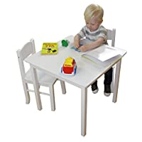 Liberty House Toys White Wooden Table & 2 Chairs Set, Wood, 60x60x53.5 cm