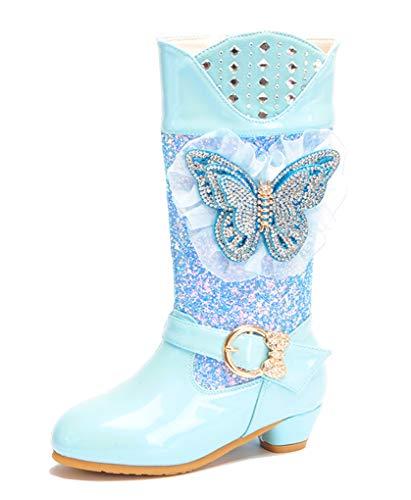 VECJUNIA Mädchen Hübsch Langschaft Schmetterling Strass Gefüttert Stiefel -