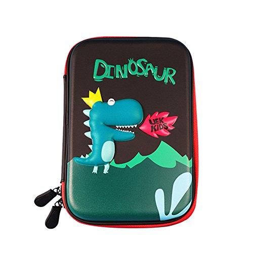 Remeeehi - Estuche rígido de goma EVA para lápices, tamaño grande, con compartimentos, bolsa para cosméticos, organizador de papelería, color Dinosaur Large