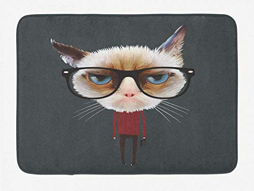 KAKICSA Cat Bath Mat, Hipster Feline with Giant Head Plaid Shirt and Greyscale Background Funny Illustration, Plush Bathroom Decor Mat with Non Slip Backing, Multicolor,19.6X31.4 inch - Giant Plaid Shirt