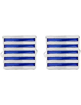 Hosaire Herren Manschettenknöpfe Cufflinks Mode Blaue-weiße Streifen Männer Damen Elegant Hochzeit Manschettenknopf...