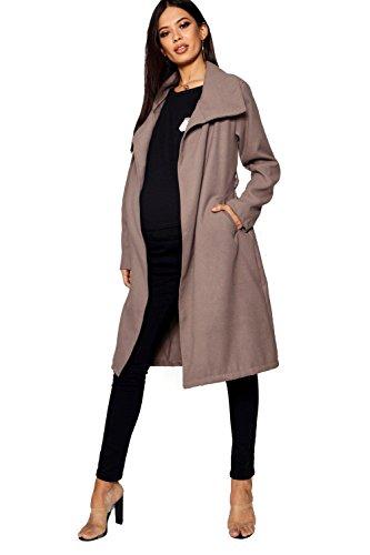 Damen Mama Jessica übergroßer Mantel mit Wasserfallkragen - Mokka - 8