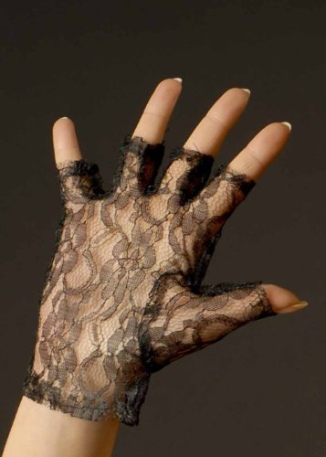Damen Achtzigerjahre schwarze Spitze Fingerlose ()