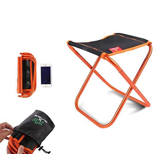 Folding Stool Outdoor Hocker Klappbar, Camping Aluminium Klapphocker Faltbar Campinghocker Kompakt für BBQ/Konzerte/Angeln/Wandern/Garten (22x24.5x26cm) Black