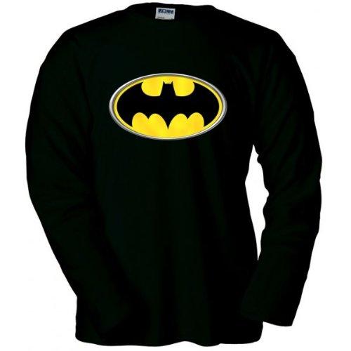 Camiseta logo Batman manga larga (Reliev) (Talla: Talla XL Unisex Ancho/Largo [58cm/76cm] Aprox])