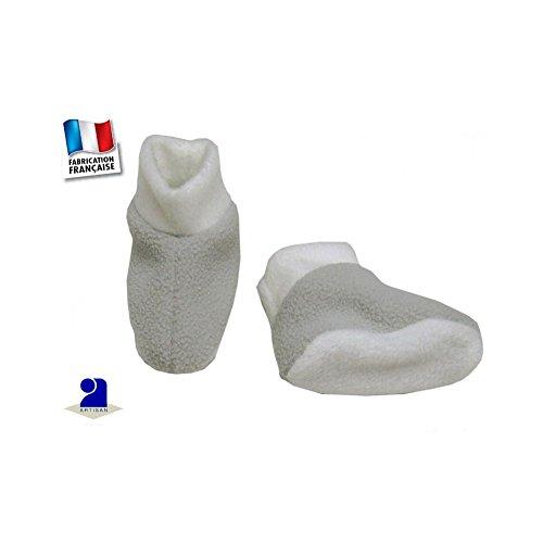 bae8dcd349aa8 Poussin Bleu - Chaussons bébé gris-blanc