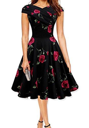 Crazycatz © Damen Red Rose Swing Weinlese Voller Kreis abgefackelt Kleid  Black