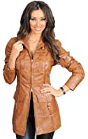 Womens Latest 3/4 Fitted Real Leather Coat Ladies Trendy Zip Up Jacket Carol Tan