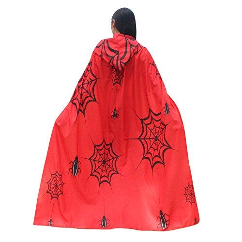 UJUNAOR Männer Frauen Neuheit Pumpkin Print Cape Schal Halloween Poncho Schal Wrap Kostüm für Camping Outdoor Aktivitäten(Rot,One Size)