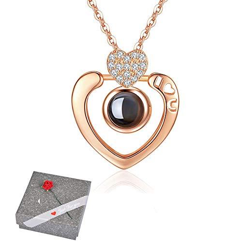Amaza argento sterling s925 100 lingue ti amo collana con elegante scatola di gioielli - ciondolo ti amo 100 lingue per san valentino (heart in rose gold)