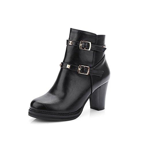 Stiefel Weiches Allhqfashion Eingelegt spitze Absatz Material Schwarz Hoher Niedrig Damen TSSn8wqgO