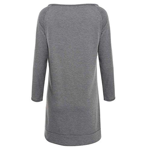 ZEARO Sexy Schulterfreie Bluse mit Drucken, Damen Herbst Langarmshirt Tops  Oberteile Grau