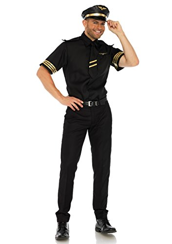 """Leg Avenue 86685"""" Flight Captain Kostüm, Schwarz, Large (EUR 40)"""