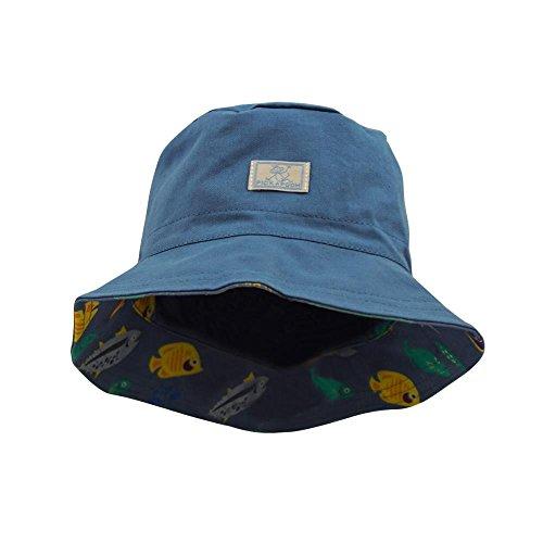 PickaPooh Wende-Fischerhut mit UV-Schutz Baumwolle, Jeans/Fische Gr. 50 (Männer 50 Jeans)