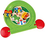 Hape Train Track Puzzle | Compatible 2-In-1 Wooden Train Track Set, Multicolored Railway And Puzzle Toy For To