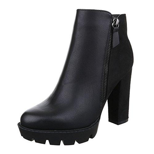 Schwarz Damenschuhe Heels design Pump Stiefeletten Heel Reißverschluss Schlupfstiefel High Ital ZqPxgwUq